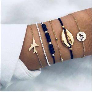 3/$20 Airplane Summer Shell Bracelet Set